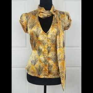 Free People Yellow Peacock Feathers Silk Blouse
